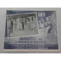Lobby Card Cartel Cine Santo Contra Invasion Marciana