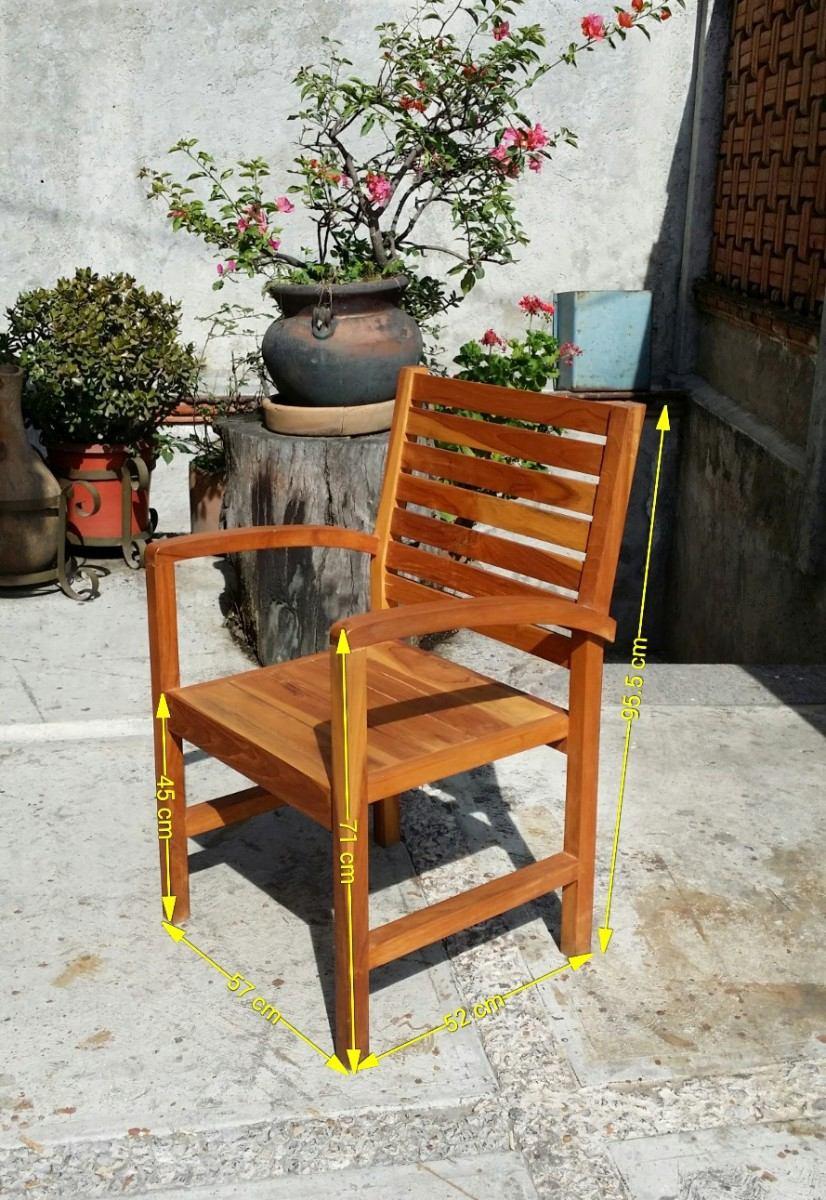 Silla de teca c moda y amplia para jard n o terraza hm4 for Sillas de terraza y jardin