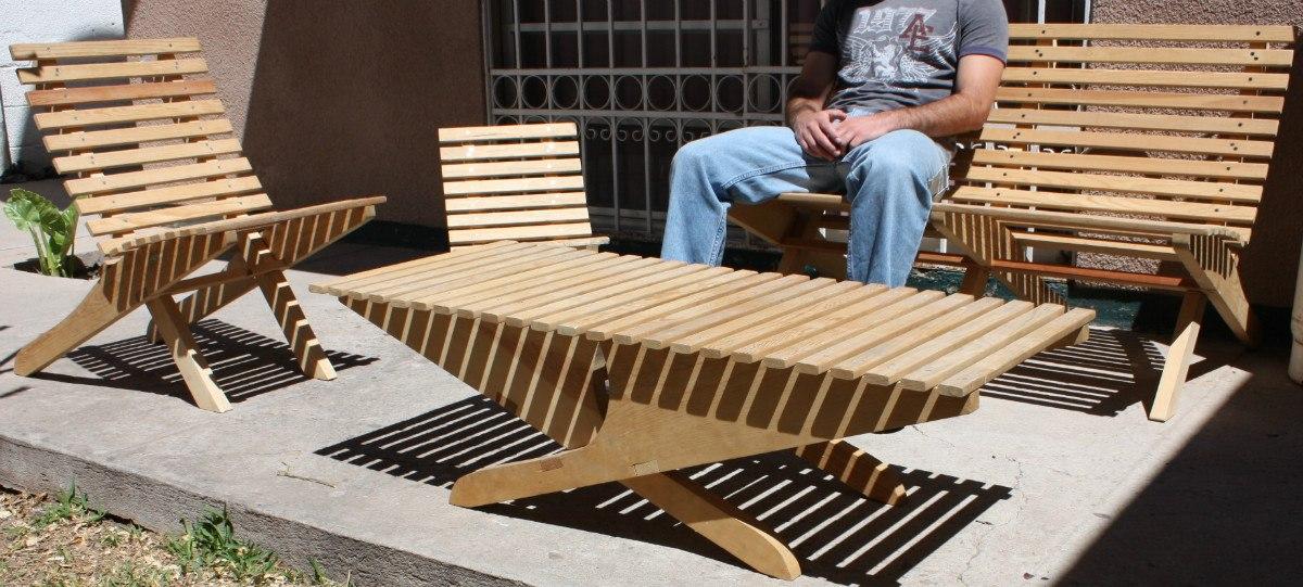 Silla mueble plegable madera jardin o interiores 449 for Mesas de jardin plegables