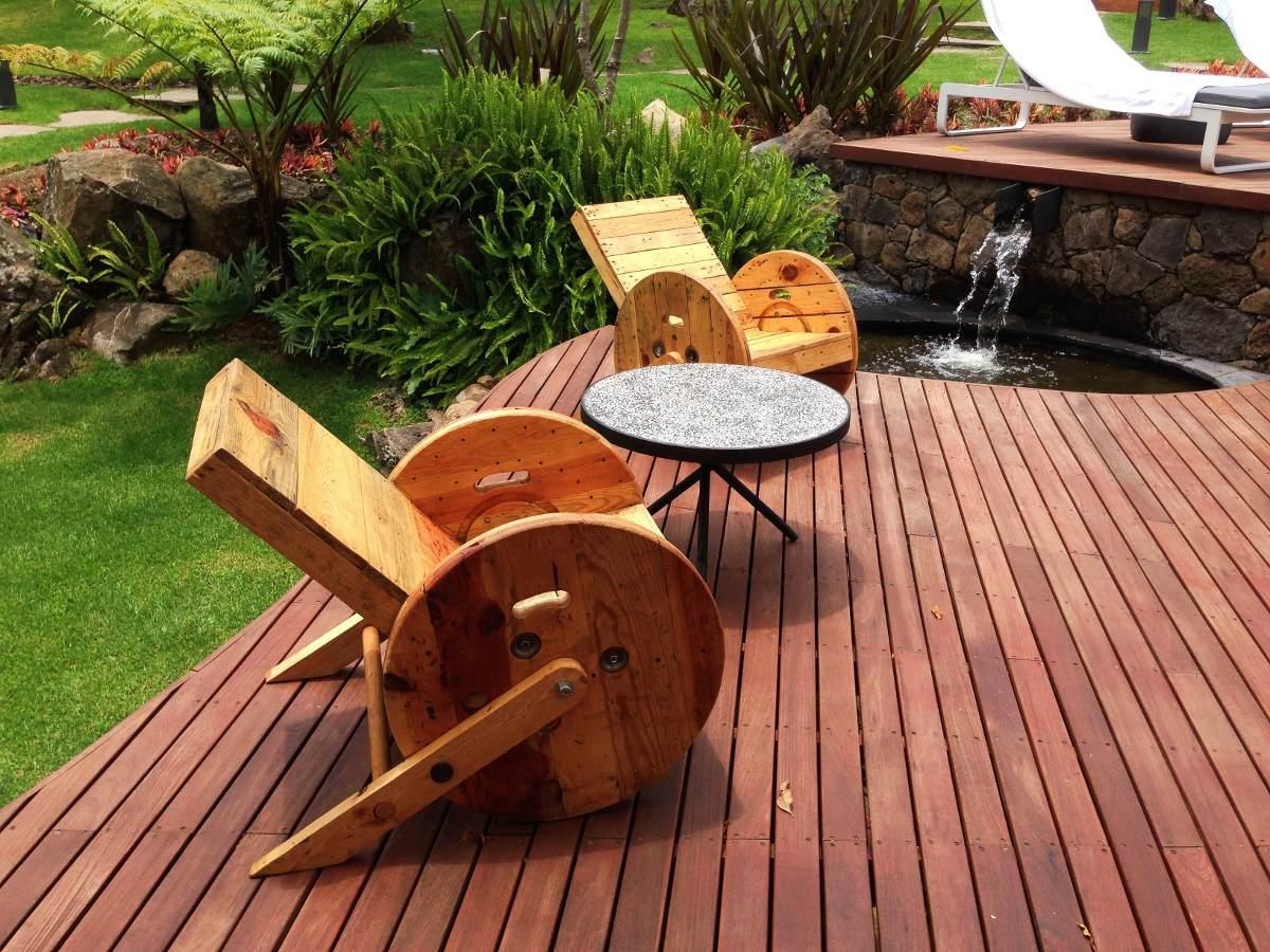 Silla reclinable de madera reciclada y carrete 2 200 for Precio sillas reclinables