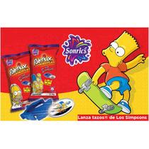 Lanzatazos De Los Simpson + 5 Tazos De Bart Sonrics 2012 Hm4