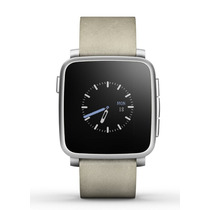 Reloj Pebble Time Steel Smartwatch Apple Android Piel Gris