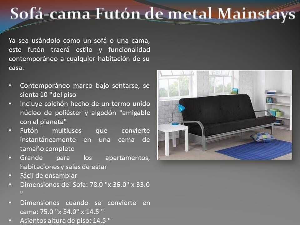 Sofa cama futon de metal mainstays 3 en for Sofa cama tipo futon