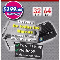 Controladores Drivers Win Xp, 7, 8.1 Y 10..usb 16 Gb $199.00