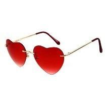 Lentes Gafas Love Corazón Metálico Dorados