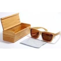 Lentes Gafas De Sol Madera Bambú Polarizados Con Estuche