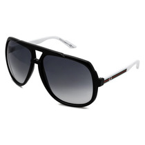 Lentes Gucci Gg 1622/s Ovf Black With White Sunglasses