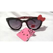 Lentes Gafas Hello Kitty Negros Con Moño! Original