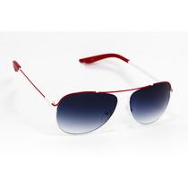 Lentes De Sol Mosca Aviador Armazón Blanco/rojo Ls80
