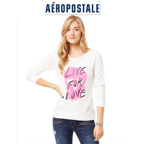 Sudadera L Grande Aeropostale Blanca Rosa Mujer Padrisima Ve