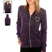 Hot Topic Sudadera Black Purple Wash Heart Zip Hoodie Median