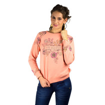 Sudadera De Dama Color Coral Fashoop Estampado Y Bordado En