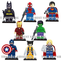 Set 8 Figuras Superheroes Compatible Lego Spiderman Batman