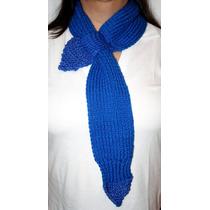 Bufanda Tejida Tipo Corbata Azul Nueva