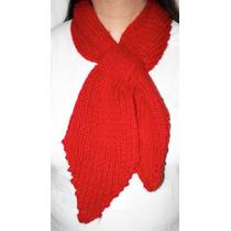 Bufanda Tejida Tipo Corbata Roja Nueva