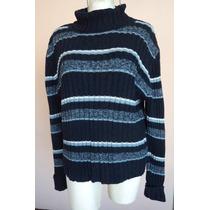 Dockers Suéter Azul A Rayas Con Cuello Ruso Talla M! S68