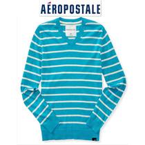 Sueter Xl Aeropostale Azul Aqua Blanco Rayas X Grande Algodo
