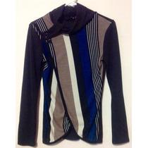 Suéter - Sweater Negro C/ Beige, Envío Sin Costo. Remato.