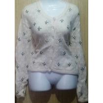 Sueter Sweater Lana Beige Con Flores Talla S Nuevo Remate