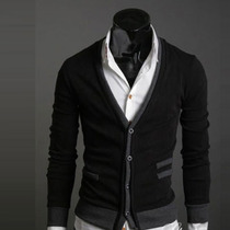 Suéter Cuello V Caballero Slim Fit Moda Elegante Estilo