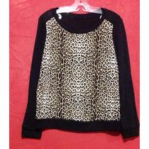 Blusa Sweater Liviano Animal Print Negro Trendy Chic