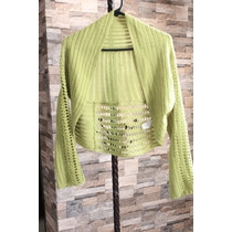 Sweter Sweters Estilo Torero Tejido Color Verde