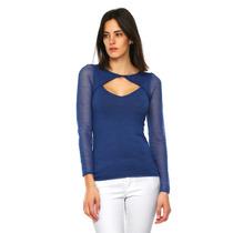 Guess - Blusa Con Abertura Al Frente - Azul - W44r55z10d0