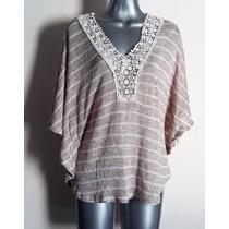 Sweater Amplio Tipo Capa Beige Con Blanco Lineas Tejido L/g