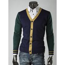 Suéter Cuello V De Hombre Estilo Juvenil Hipster Slim Fit