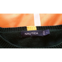 Sweater Nautica Original Color Verde Talla Large Hombre!