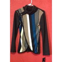 Suéter - Blusa Negro Beige, Abertura Frontal Emanuelle