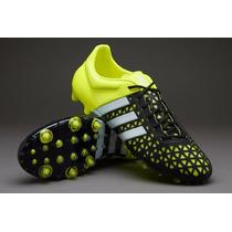 Taco Adidas Ace X 15.1 Fg-ag Negro Verde Profecional Nuevo