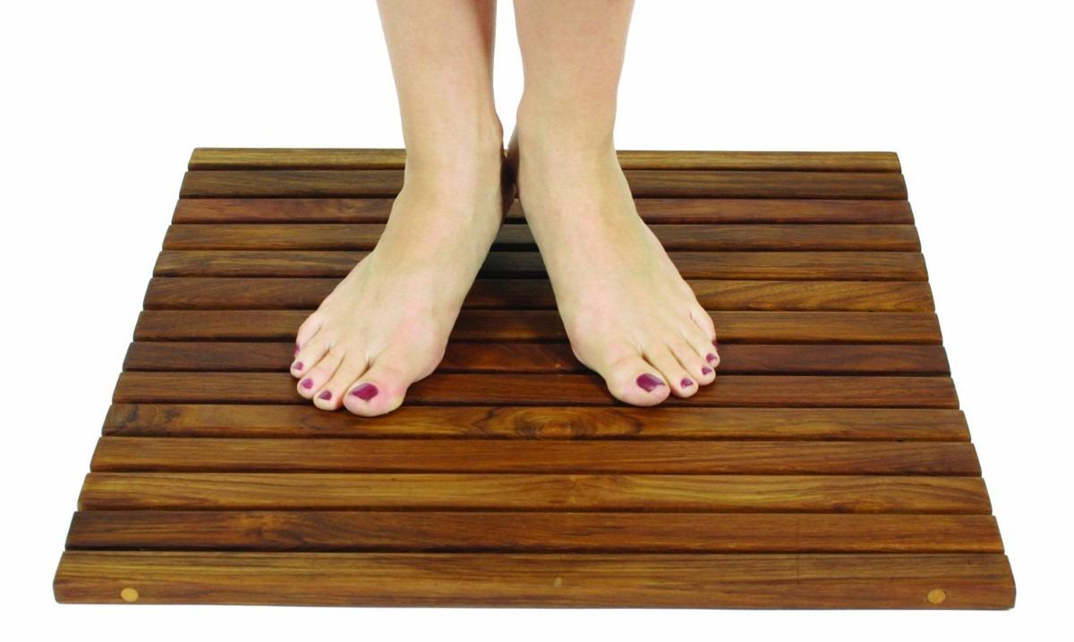 Tapete en madera de teca genuina enrollable para ba o - Accesorios de bano en madera ...