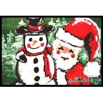 Amigos Muñeco De Nieve Y Santa Claus Mat Interiores O Exter