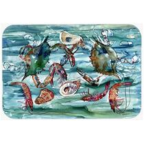 Cangrejos, Camarones Y Ostras En Agua Cocina O Baño Mat 24x