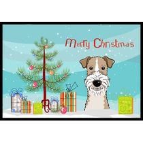 Árbol De Navidad Y Cabelludo Del Alambre Fox Terrier Mat In