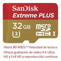 Sandisk Extreme Plus 32gb 80mb/s Micro Sd Hc C-10 U-3 Gopro