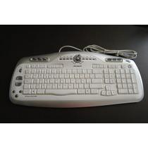 Acteck - Teclado Usb Blanco Slim Multimedia Con 8 Botones
