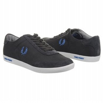 Tenis Fred Perry Hank Twill Suede Charcoal Talla 9us 7mx