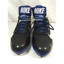Spikes De Baseball Huarache Nike Negros/azul Metal Original