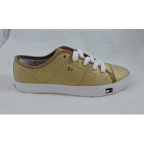 Tenis Tommy Hilfiger Color Oro Num 25.5 Mex