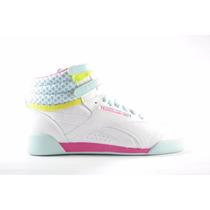 Tenis Reebok Freestyle Hi Blanco/rosa/azul (v63067)