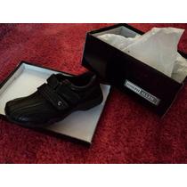 Zapatos Casuales Para Escuela Color Negro, Con Velcro Doble