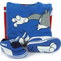 Bebe Tenis Puma Kit Pack Tom & Jerry + Playera Azul Baby Gym