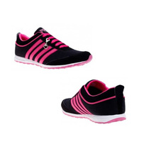Tenis Casual Con Cuña Pink By Price Shoes 1519 Color Negro