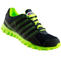 Tenis Correr Deportivo Gris Verde Neon Mujer Ruggel Galgo