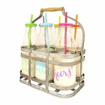 Tarros Jarros Vidrio Leche Bote Mason Jar Milk Jug Caddy Set