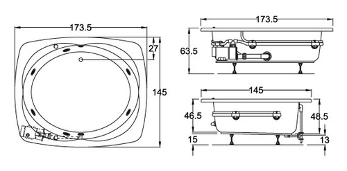 Pumps tubos termo boiler medidas de tinas de for Medidas de jacuzzi para 4 personas
