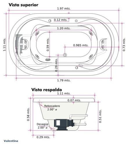 Tinas De Baño Hydromax:Tina C/hidromasaje Valentina (197 X 111 X 58) Hydromax – $ 29,82000