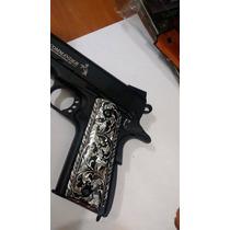 Cachas Para Colt 1911 Nacaradas Tipo Rameado Negras Plata